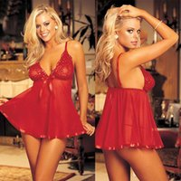 Wholesale 2016 New Women sexy Pyjamas Black Purple Red Lace nightdress babydoll Plus size XXXL drop shipping