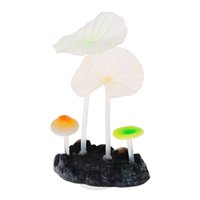 artificial coral reef aquarium - Mini Artificial Coral Reef Glowing Lotus Leaf Mushroom Fish Tank Aquarium Decoration Ornaments with Sucker Aquariums Accessories