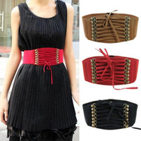 Wholesale New fashion Retro belt Women Elastic waistband Velvet Bandage with rivet blelts tassel gauze cummerbund styles C978
