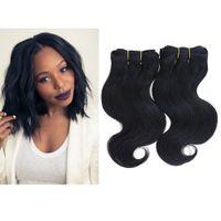 al por mayor extensiones de cabello corto tejen-2 paquetes 100g 8 '' 7A Extensiones del pelo humano brasileño Onda de la onda del cuerpo Trama 8 pulgadas 50g / paquete Pelo corto