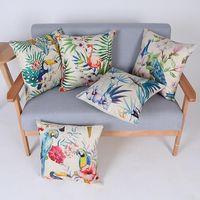 45 centímetros Hot Sale Flor Azul e papagaio Pássaro Cotton linho Throw Pillow 18 polegadas Moda Hotal Escritório Quarto Decore Sofá Chair Cushion