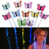 Wholesale Glow Blinking Hair Clip Flash LED Braid Show Party Decoration Colorful Luminous Braid Optical Fiber Wire Hairpin Rave Party