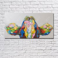Wholesale Hand painted abstract painting picture ideas good quality wall art for restaurant Animal head wall decoration