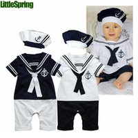 Cheap no brand Baby Boys Navy Sailor Style Rompers Best Boy Summer Toddler Baby Stripe Romper Jumpsuit
