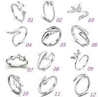 angels fox - New Sterling Silver Jewerly Rings Dolphins Dragonfly Wings Of The Angel Love Fox Butterfly Opening Adjustable Ring For