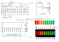 Wholesale 20pcs grid digital segment LED light bar flat tube of super bright red yellow green blue light flat tube
