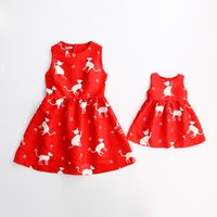 Wholesale Mother Daughter Dress Autumn Fashion Print Floral Dress Sleeveless Vest Dress Mother and Daughter Clothing ER