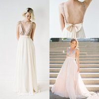 Wholesale Cheap Sexy Top Rose Gold Bridesmaid Dresses For Wedding V neck Long Bling Sequins Lace Chiffon With Sashes Bow Prom Evening Gowns