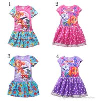 b naturals dog - Patrol dog Design Girls lace cotton dress DHL new children Patrol dogs flower Short sleeve dress cm B