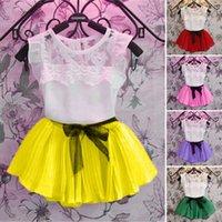 baby girl vest - New Arrival Children s Clothing Set Summer Style Baby Girls Chiffon Tutu Skirts Set Kids Clothes Birthday Party Gift VA0081 salebags