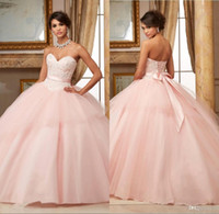 Wholesale Ball Gowns Pink Quinceanera Dresses Lace Appliques Beaded Red Puffy Sweet Dresses Vestidos De Anos Long Party Gowns