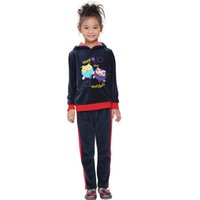 Wholesale 2016 Warm Autumn Printing Girls Sports Suit Hot Sell Cartoon warm suit Warm Hooded Girls Suit