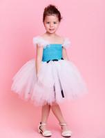 baby fairy fancy dress - 2015 new baby frock flower girl tutu dress Lake blue puffy fancy fairy frock for girls Character Bow Children Dress