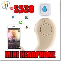 apple beige - Super Mini Bluetooth Earphone S530 For iphone Headset Sports Neckband Earphone Wireless Bluetooth Retail Box