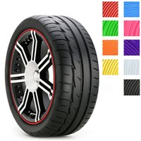 Wholesale Sticker For Tire - 8m car styling Tire Tyre Rim care protector Hub Wheel Stickers strip for BMW volkswagen VW golf 4 Opel astra Toyota accessories