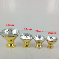 Wholesale modern fashion glass crystal furniture knobs glass diamond drawer cabinet knobs pulls silver chrome golden dresser door handles