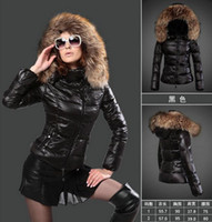 Wholesale Real fur coat winter jacket Women downs jacket High collar Inclined zipper More warm duck down Coat women fashion coats