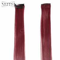 Wholesale Promotion Straight Red Wine quot Colorful Synthetic Clip in Hair Extensions Ombre Hair Synthetic Feather Hair Highlight Extensions