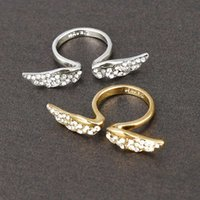 Wholesale Adjustable mm size Fashion Exquisite Rhinestone angel wing Ring Jewelry for Lovers aneis femininos XY R81