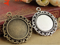Wholesale Cameos Bulk - A1156 30MM Fit 20MM Antique Bronze round cameo cabochon setting, vintage metal stamping blanks, retro bulk DIY pendant tray bezel base