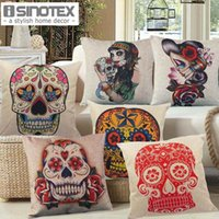 Wholesale 45x45cm x17 Linen Cushion for Decorative Sugar Skull Printed Decorative Cushion Home Decor