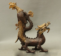 Wholesale 14 Feng Shui China Folk Chinese Bronze Copper Gilt JiXiang Dragon Phoenix Statue