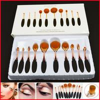 Wholesale Rose Gold Brushes set Tooth Shape Oval Makeup Brush Set Multipurpose Makeup Brush Powder Eyeshadow Blush Beauty Brush with Retail Box