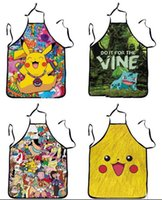 Wholesale Poke Pikachu kitchen apron anime apron pocket monster Pikachu sleeveless cooking apron aprons gift cm