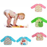 baby bib smock - 100Pcs Baby Feeding Bibs Lovely Toddler Waterproof Long Sleeve Kids Flowers Cartoon Childern Saliva Smock Burp Apron ZA0270