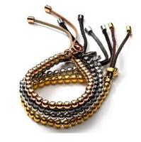ball bar chain - fashion Ethnic quality Rose gold Metal Ball Bead Flexible Leather Bracelets charm bracelet Bangles Luxury Women Unisex Bracelet Jewelry