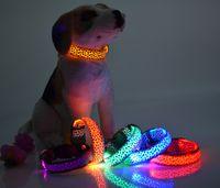 basic grains - Fluorescent Dog Collars Sexy Leopard Grain Print Color Collars LED Luminous Pet Spots Dog Collar