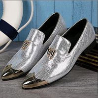 Cheap Fashion British Style Leather Shoes For Men Silver Gold Leather Pointed Toe Flats Mens Oxford Leather Shoes Busines Casual Shoe