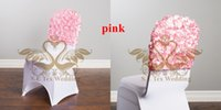Cheap New Design Pink Color Satin Rosette Chair Cap Hood Fit On Wedding Chair Cover