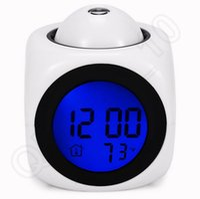 lcd talking alarm clock - Led Projection Alarm Clock Multi Function Digital LCD Voice Talking LED Projection Alarm Clock Temp Station Table Desk color QQA98