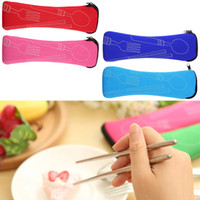 Wholesale Chopstick Fork Spoon Travel Stainless Steel Cutlery Camping Portable Bag