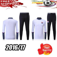 Wholesale white Lyon Olympique soccer tracksuit Lyonnais football Survetement skinny pants Chandal futbol sweatshirt training suit