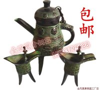 antique bronze pot - Crazy special offer shipping antique bronze Shoumian three foot pot Home Furnishing jewelry ornaments handicraft collections