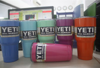 Wholesale 2016 New arrival Colorful Yeti oz Cups YETI Rambler Tumbler oz Beer Mug Double Wall Bilayer Vacuum Insulated SS ml