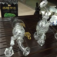 Wholesale Glass water pipe newest mini bong with splash guard recycler bubbler two funcations quartz banger and mm bowl