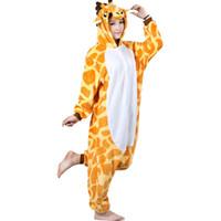 Wholesale Cartoon Onesies For Adults - Giraffe Unisex Adult Flannel Hooded Pajamas Cosplay Cartoon Cute Animal Onesies Sleepwear For Women Men