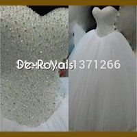 Wholesale Bling Bling Tulle Ball Gown Wedding Dresses Sweetheart Neckline Corset Back Floor Length Custom Made Spring Fall Bridal Wedding Gowns