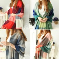 Wholesale 2016 Fashion Wool Women Scarf Spain Scarf Plaid Thick Large Scarf Women Warp echarpes Scarves Shawl for Woman