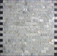 Wholesale Home mosaics tiles white subway brick mother of pearl tile kitchen backsplash bathroom mirror shower wall tub shell decor tiles