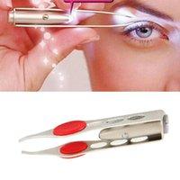 Wholesale Stainless Steel Make Up LED Light Eyelash Eyebrow Hair Removal Tweezer K00065 SMAD