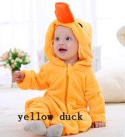 Wholesale 2016 Spring Autumn Winter Baby Clothes Flannel Baby Boy Clothes Cartoon Animal Jumpsuit Baby Girl Rompers Baby Clothing duck animals