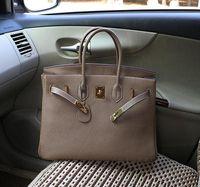 big grains - 2016 women new big bag Genuine leather TOGO litchi grain handbag Good quality head layer cowhide locks female bag