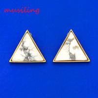 amethyst clip earrings - Earring Stud Triangle Ear Stud Natural Gem Stone Jewelry Ear Clip Earrings Women s Jewelry Amethyst Opal Onyx Lapis Lazuli etc Stone