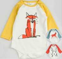 Wholesale 2016 Newborn Kids Baby Infant Boy Girl Fox Romper Jumpsuit Outfits Clothes new arrive hight quality