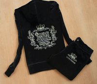 Wholesale Plus Size S XXXL Spring autumn Women Tracksuits Crowne Pattern Embroidery Velvet Sport Suit Women s Clothing moleton feminino Hoodies pants