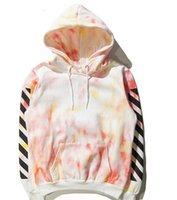 Wholesale 2016 women newest US hiphop kanye west virgil abloh OFF WHITE stripe unisex men cotton pullover hoodie black white